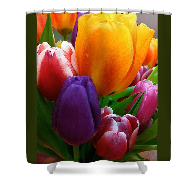 Tulips Shower Curtain featuring the photograph Tulips Smiling by Marie Hicks