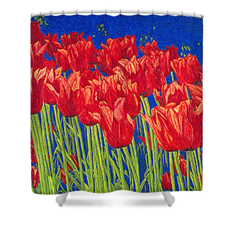 Tulips Shower Curtain featuring the drawing Tulips Tulip Flowers Fine Art Print Giclee High Quality Exceptional Color Garden Nature Botanical by Baslee Troutman