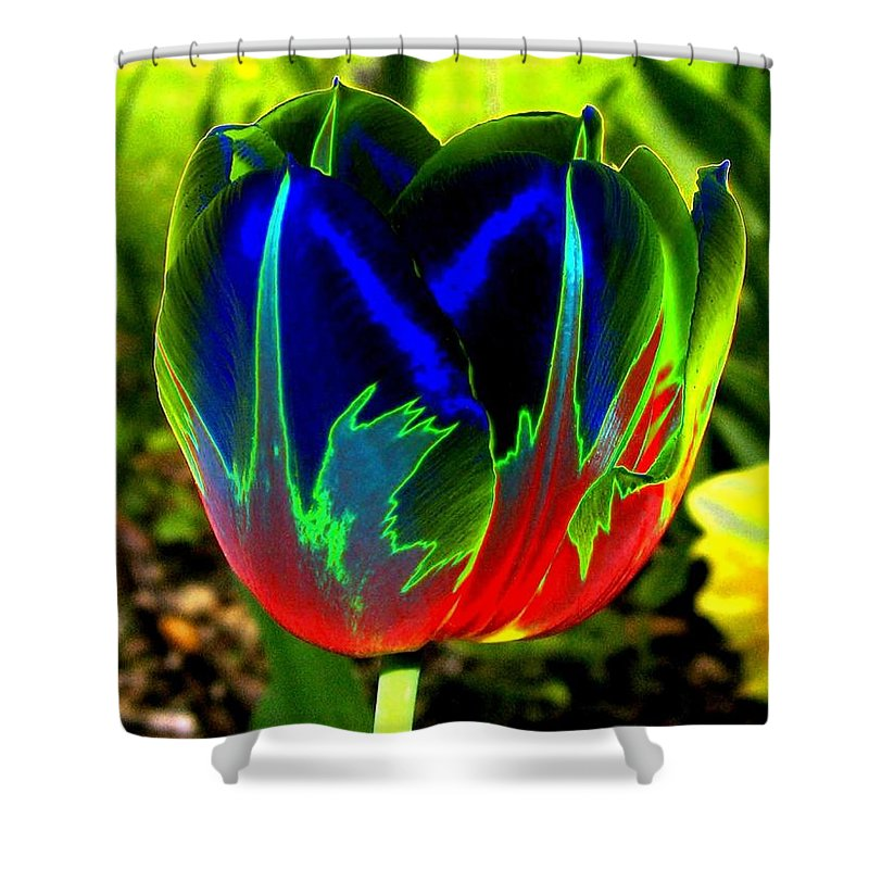 Resplendent Shower Curtain featuring the digital art Tulipshow by Will Borden