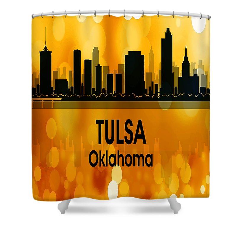 Tulsa Shower Curtain featuring the digital art Tulsa Ok 3 Vertical by Angelina Tamez