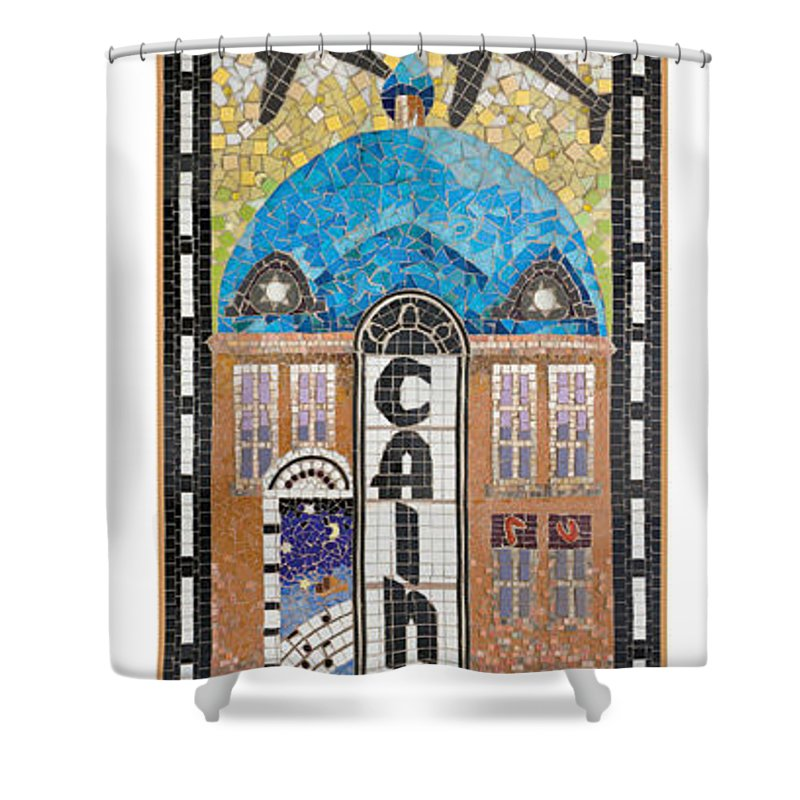 Cains Ballroom Shower Curtain featuring the relief Tulsa's Cains Ballroom And Blue Dome Music District by Margaret Aycock