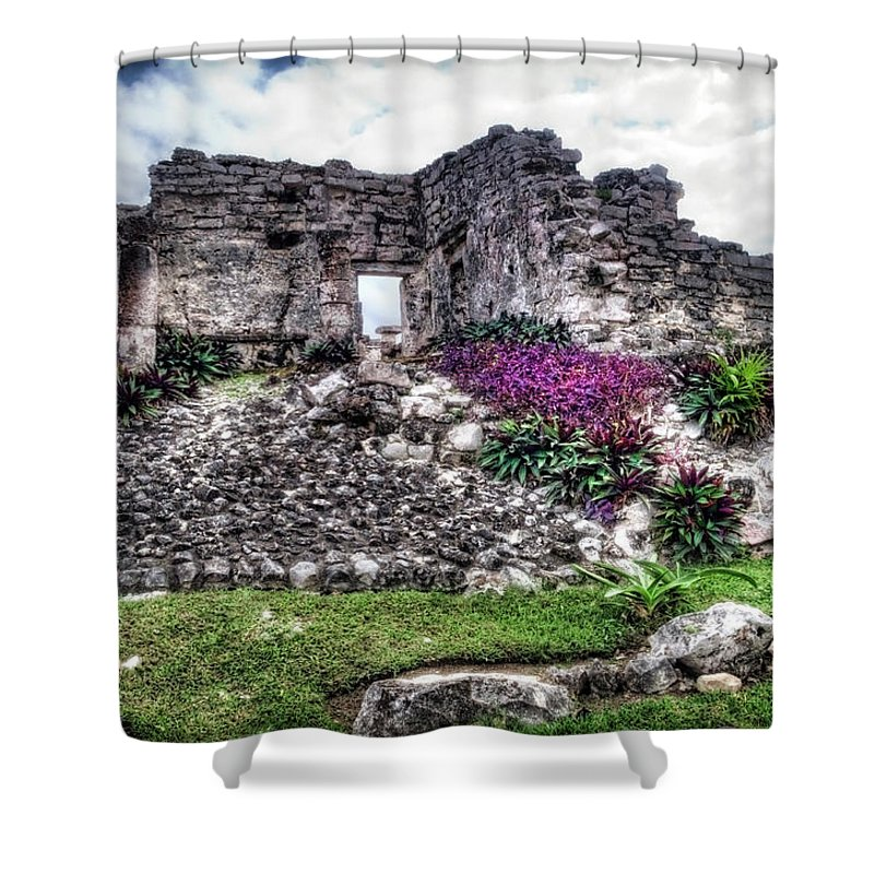 Tulum Shower Curtain featuring the photograph Tulum Temple Ruins No.2 by Tammy Wetzel