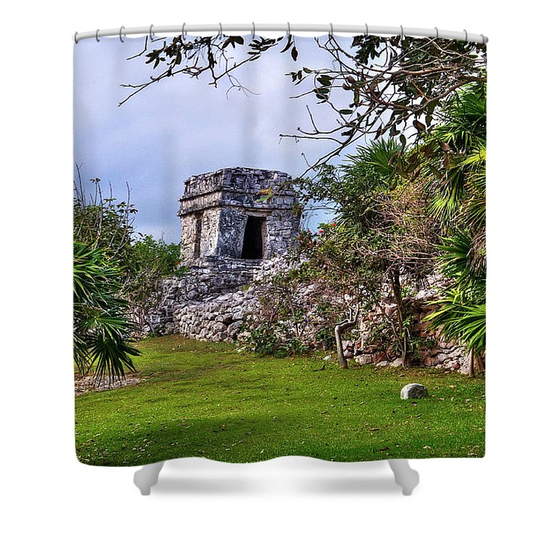 Tulum Shower Curtain featuring the photograph Tulum Watchtower by Tammy Wetzel