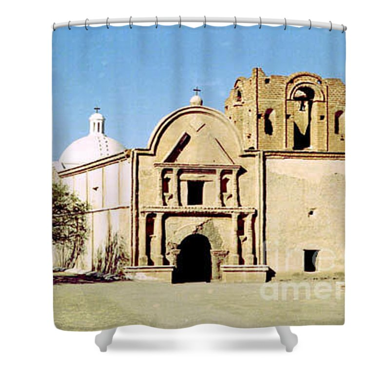 Mission Shower Curtain featuring the photograph Tumacacori by Kathy McClure