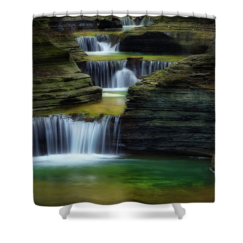 Watkins Glen Shower Curtain featuring the photograph Tumblin Down by Bill Wakeley