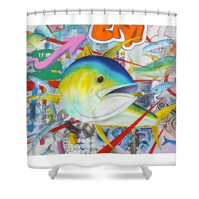 Tuna Shower Curtain featuring the painting Tuned In by Mutt Hubbard