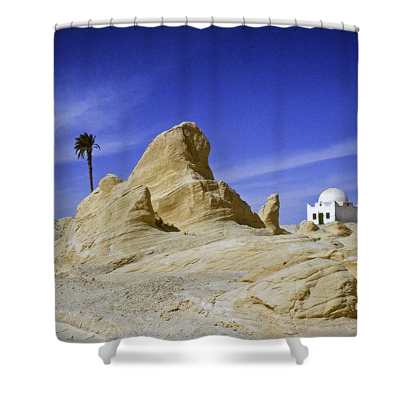 Africa Shower Curtain featuring the photograph Tunisian Desertscape by Michele Burgess