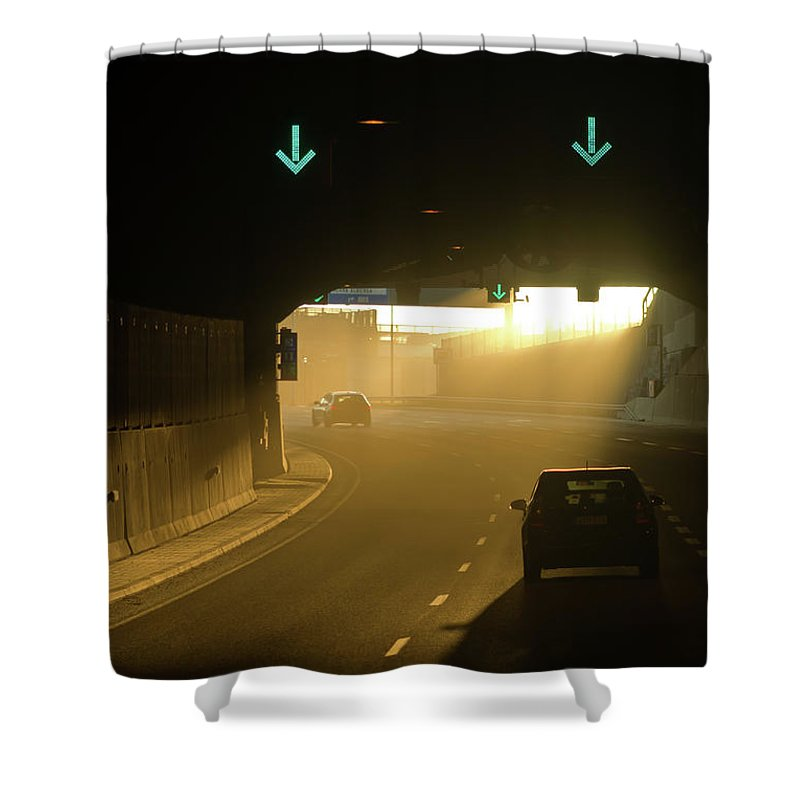 Mestaritunneli Shower Curtain featuring the photograph Tunnel Exit by Jarmo Honkanen