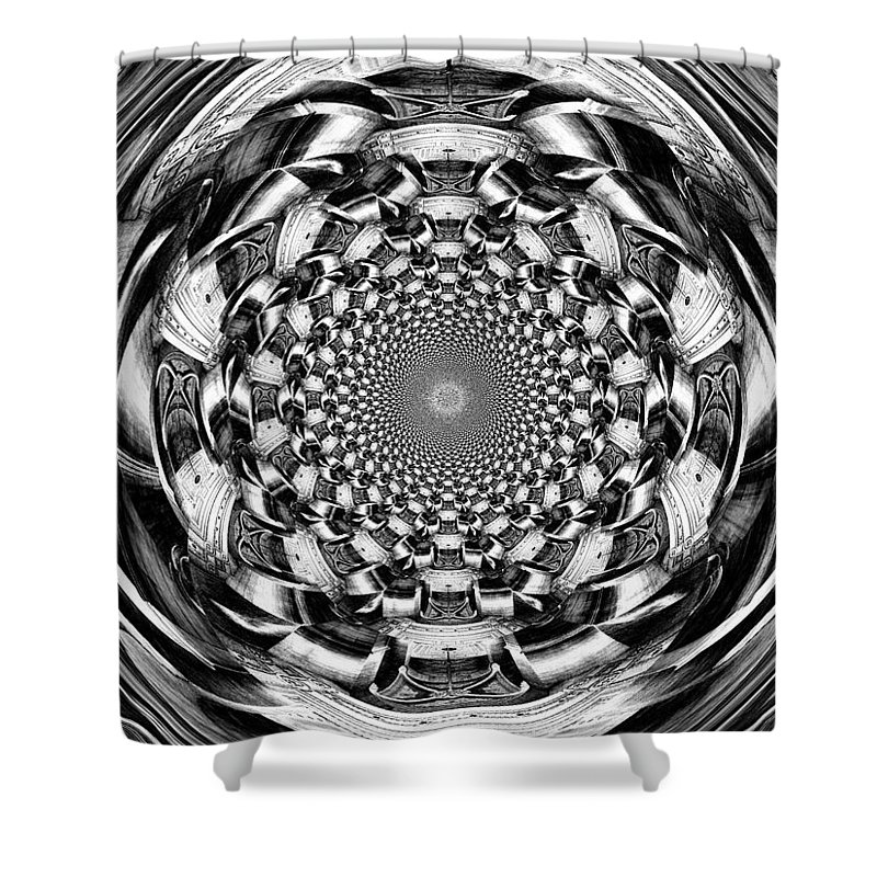 Swirl Shower Curtain featuring the digital art Tunnel Vision-black And White by Charleen Treasures