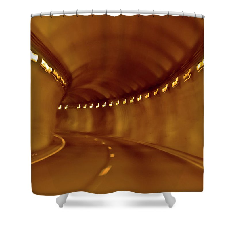 Tunnel Shower Curtain featuring the digital art Tunnel Vision Daze by DigiArt Diaries by Vicky B Fuller