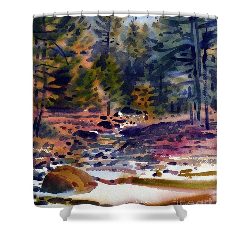 Tuolumne River Shower Curtain featuring the painting Tuolumne River In October by Donald Maier