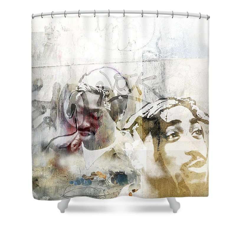 Gangsta Shower Curtain Featuring The Painting Tupac 12777778 By Jani Heinonen