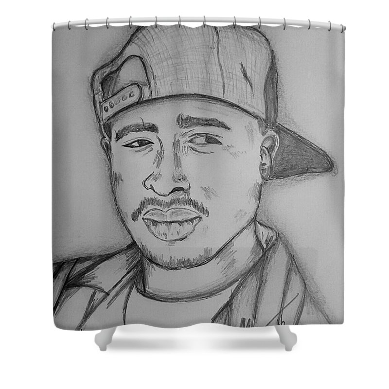 Tupac Amaru Shakur Art Shower Curtain Featuring The Drawing By Collin A Clarke