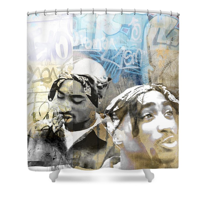 Snoop Shower Curtain Featuring The Photograph Tupac Graffitti 80 By Jani Heinonen