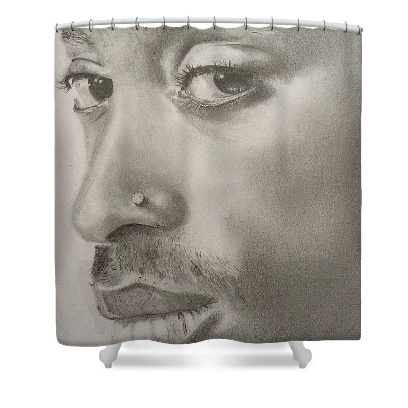 Hip Hop Rap Tupac 2pac Shower Curtain Featuring The Drawing Shakur By Heather Blickley