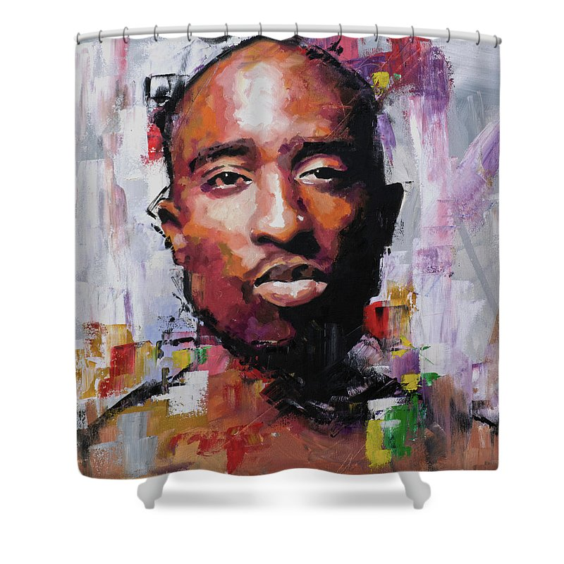 Tupac Shower Curtain Featuring The Painting By Richard Day