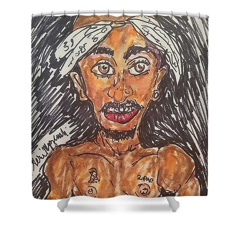 2pac Shower Curtain Featuring The Painting Tupac Shakur By Geraldine Myszenski