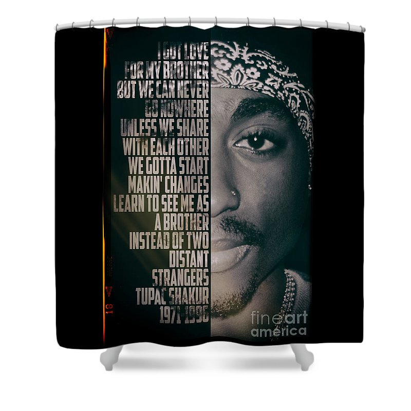 Pop Shower Curtain Featuring The Photograph Tupac Shakur By Jonas Luis
