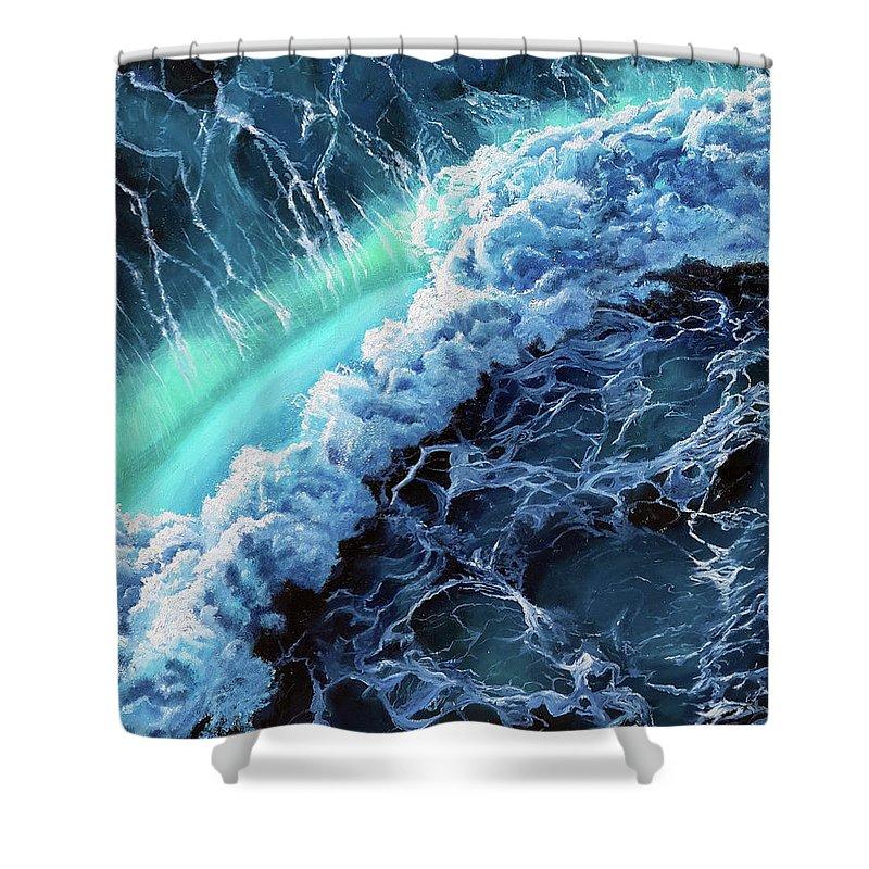 Ocean Shower Curtain featuring the painting Turbulence by Amani Al Hajeri