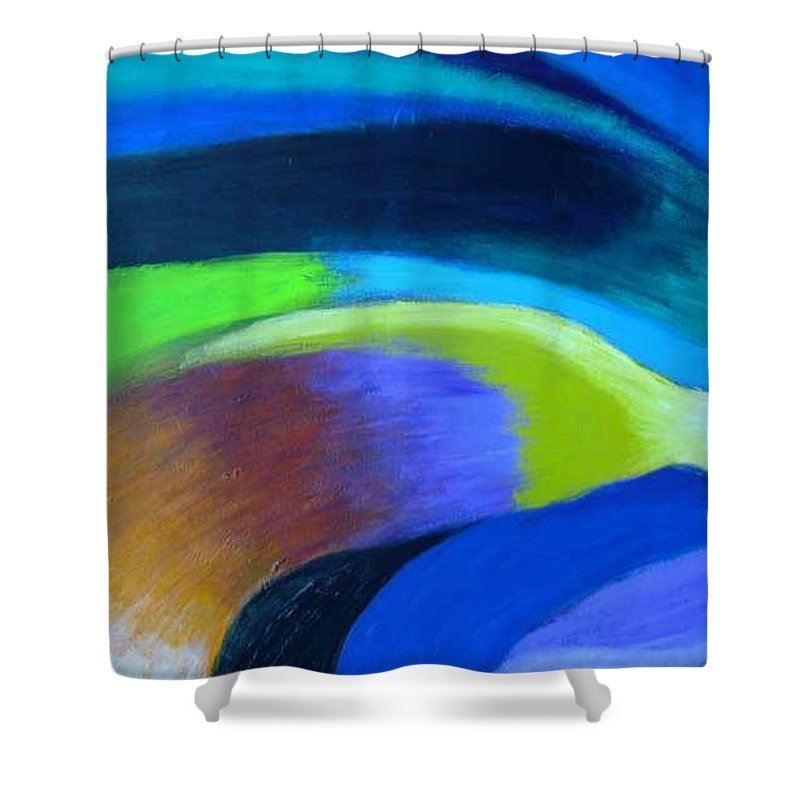Turbulence Shower Curtain featuring the painting Turbulence by Jan Gilmore