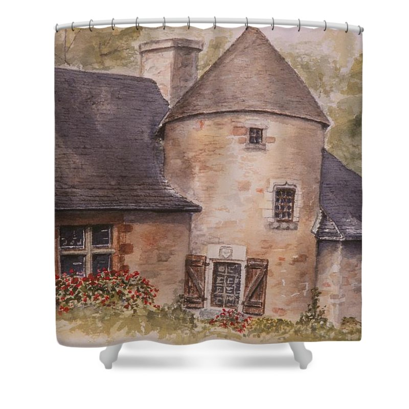 Watercolor Shower Curtain featuring the painting Turenne by Mary Ellen Mueller Legault