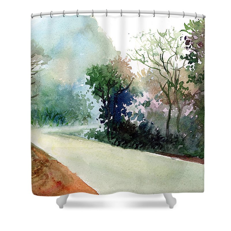 Landscape Water Color Nature Greenery Light Pathway Shower Curtain featuring the painting Turn Right by Anil Nene