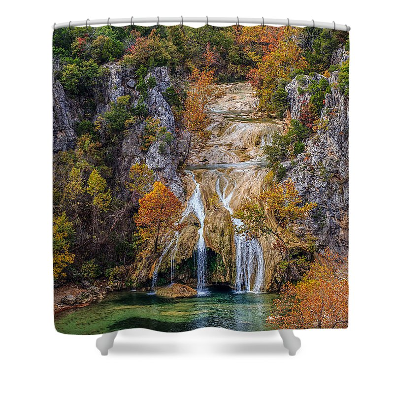 Green Shower Curtain featuring the photograph Turner Falls 8 by Doug Long