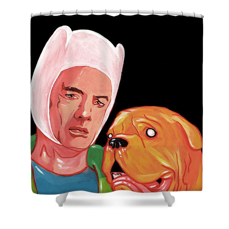 Adventure Time Shower Curtain Featuring The Painting Turnery And Hooch Meets By Jason Wright