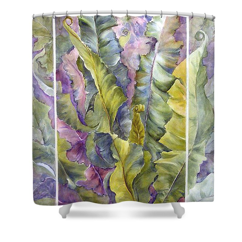 Ferns;floral; Shower Curtain featuring the painting Turns Of Ferns by Lois Mountz