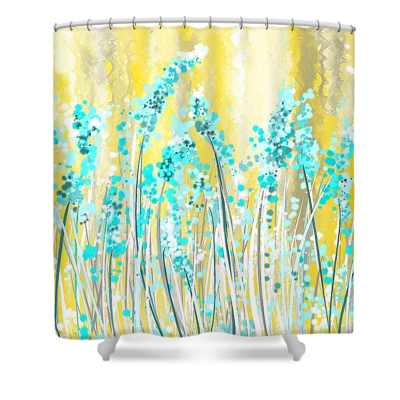 Turquoise And Yellow Shower Curtain for Sale by Lourry Legarde