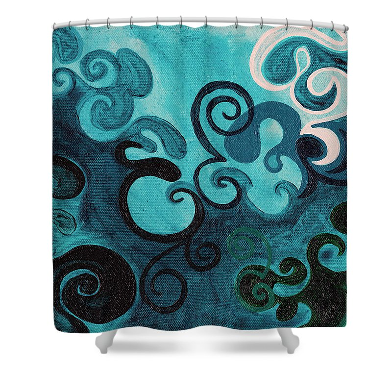 Happy Shower Curtain featuring the painting Turquoise by Beth Fowler