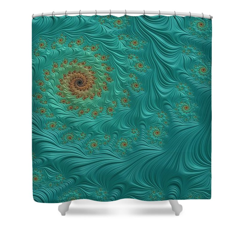 Turquoise Fractal3 Shower Curtain For Sale By Bonnie Bruno