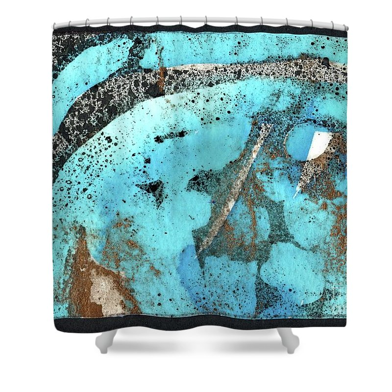 Turquoise Gold Pond 1 - Original Wax Encaustic Painting - Abstract Painting - Elizabethafox - Small Painting Shower Curtain featuring the painting Turquoise Gold Pond 1 by Elizabetha Fox