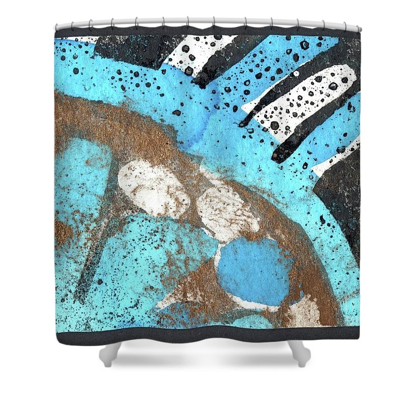 Turquoise Gold Pond 2 - Original Wax Encaustic Painting - Abstract Painting - Elizabethafox - Small Painting Shower Curtain featuring the painting Turquoise Gold Pond 2 by Elizabetha Fox