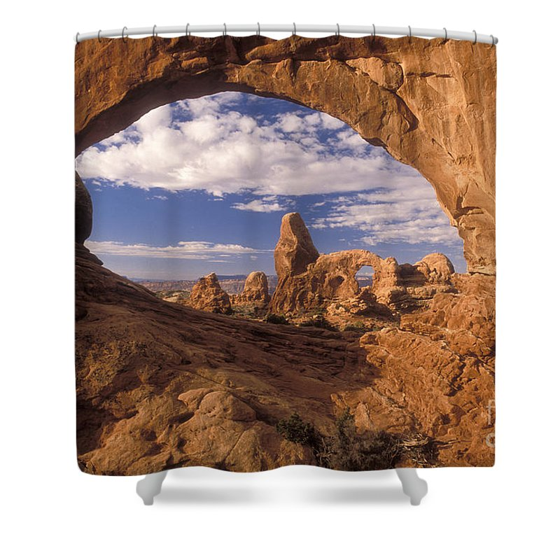 Turret Arch Shower Curtain featuring the photograph Turret Arch And North Window by Sandra Bronstein