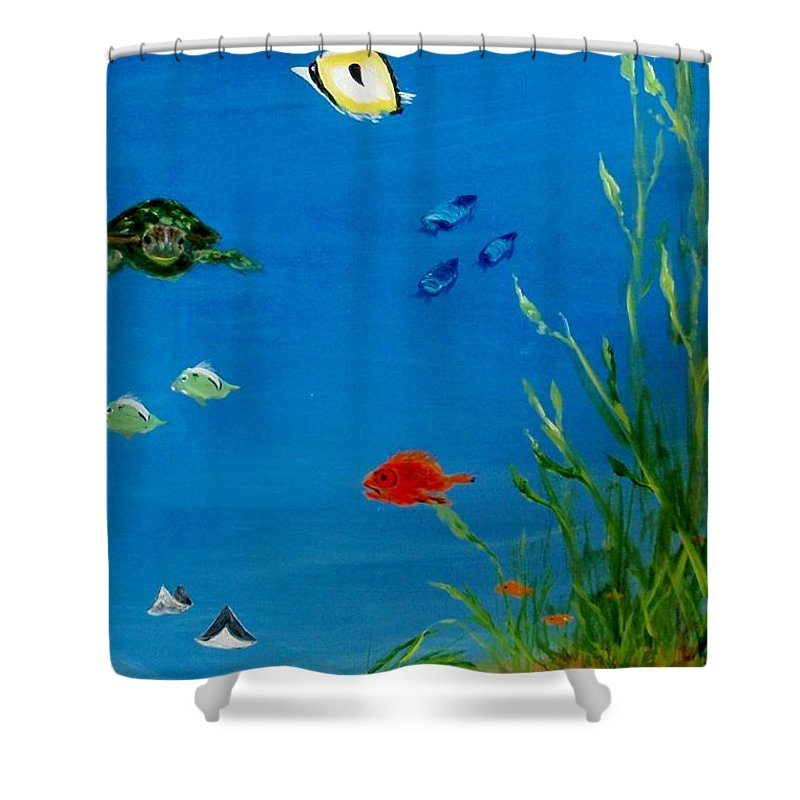 Water Shower Curtain featuring the painting Turtle And Friends by Jamie Frier