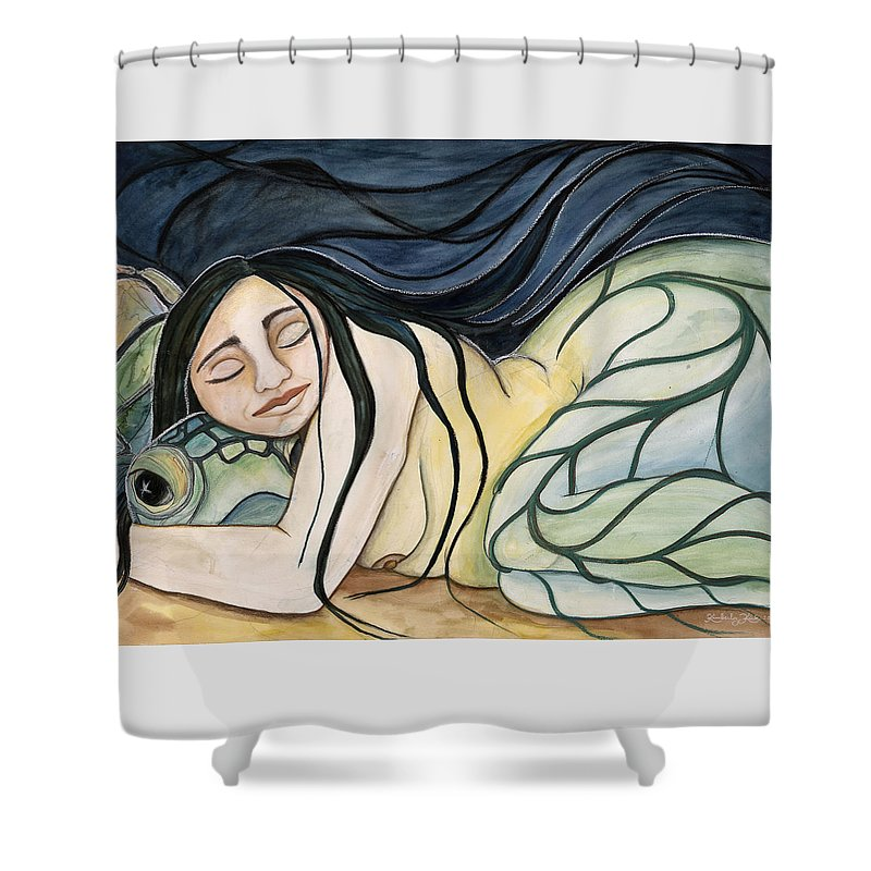 Woman Shower Curtain featuring the painting Turtle Daughter by Kimberly Kirk