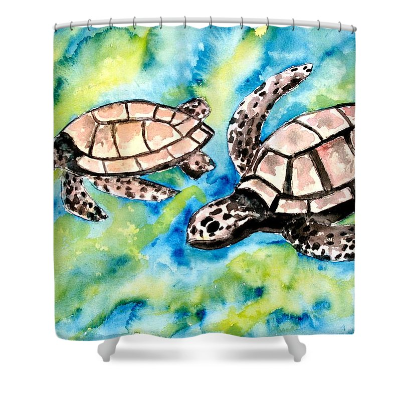 Love Shower Curtain featuring the painting Turtle Love Pair Of Sea Turtles by Derek Mccrea