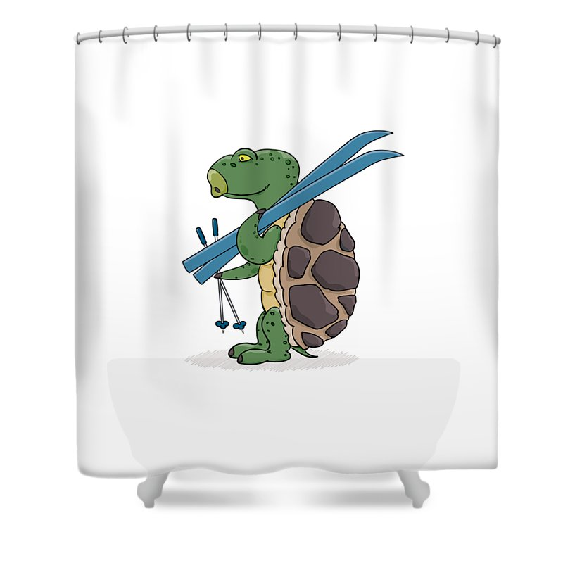 Turtle Shower Curtain Featuring The Digital Art With Blue Skis Ready For Skiing By