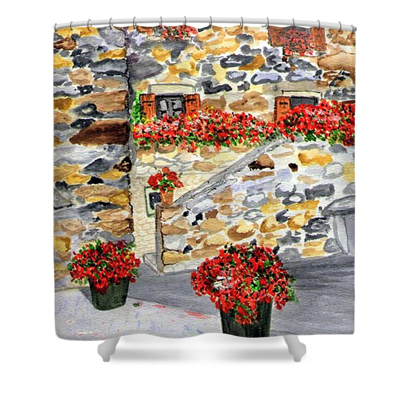 Tuscan Courtyard Shower Curtain featuring the painting Tuscan Courtyard I by Arlene Wright-Correll