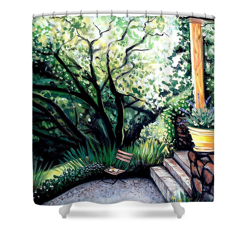 Tuscany Shower Curtain featuring the painting Tuscan Gold by Elizabeth Robinette Tyndall