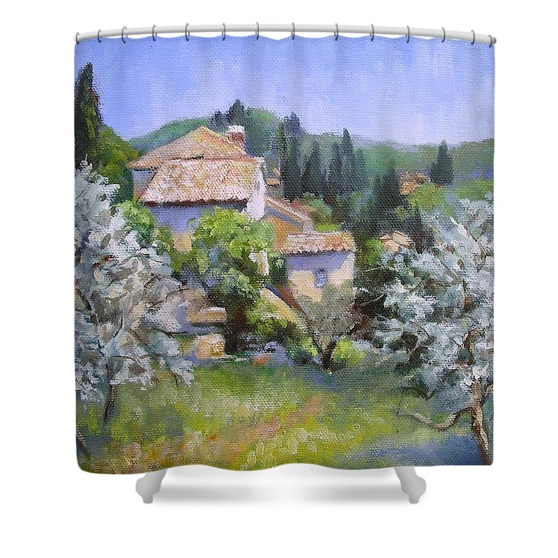 Landscape Shower Curtain featuring the painting Tuscan Hilltop Village by Chris Hobel