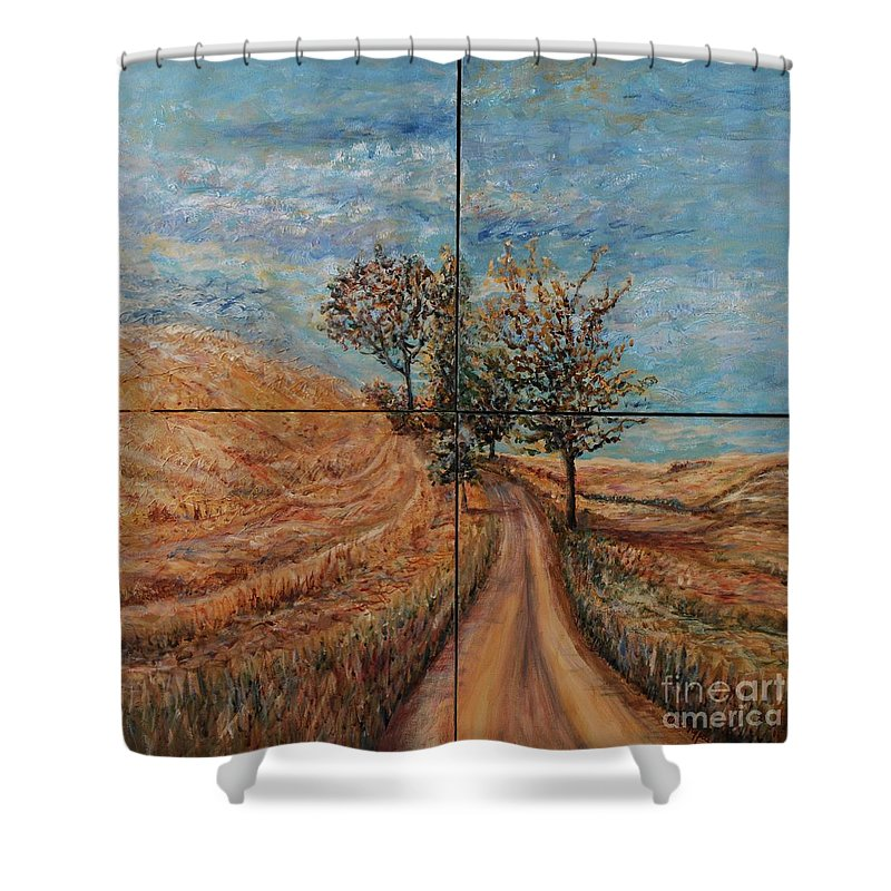 Landscape Shower Curtain featuring the painting Tuscan Journey by Nadine Rippelmeyer