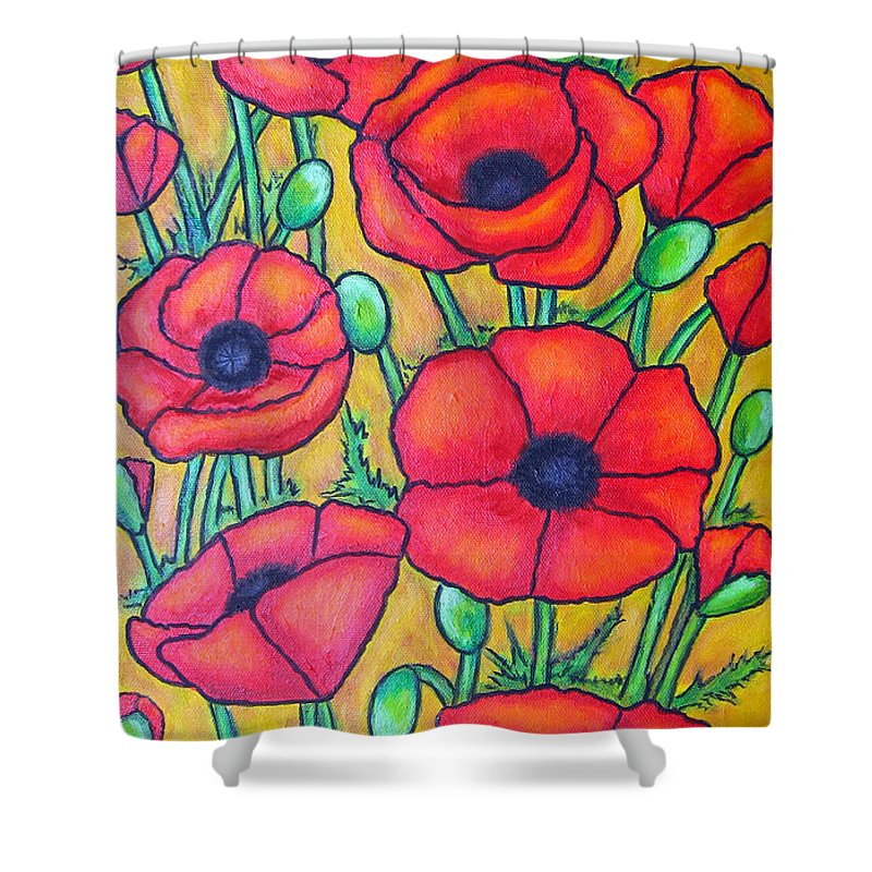 Poppies Shower Curtain featuring the painting Tuscan Poppies - Crop 1 by Lisa Lorenz