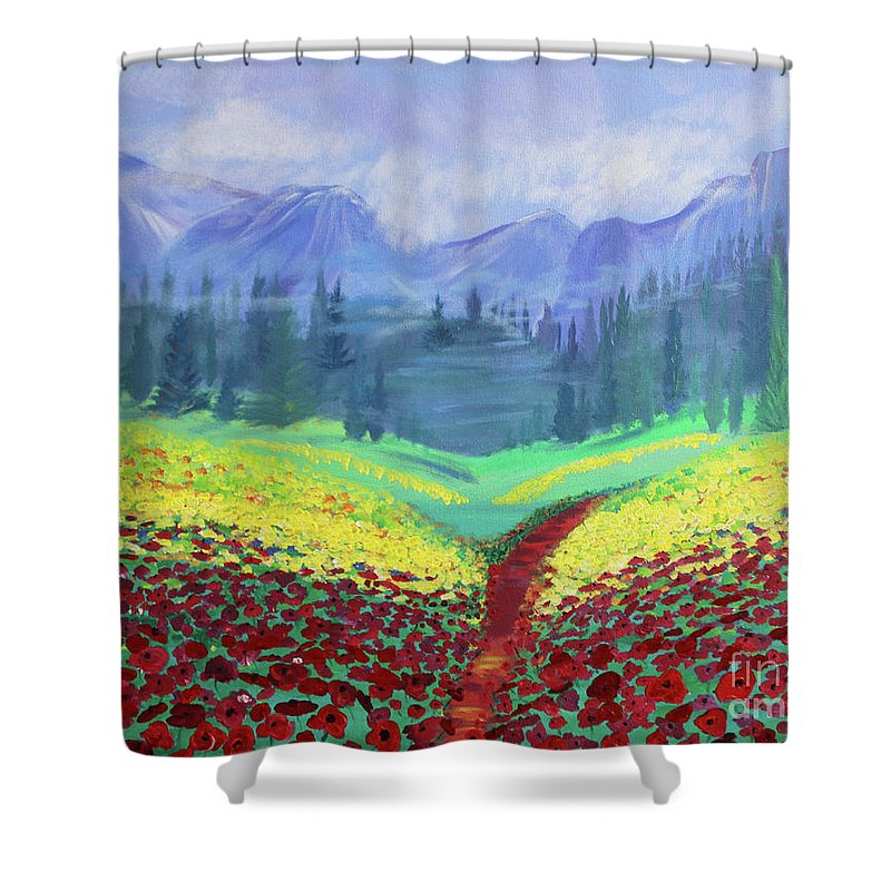 Poppies Shower Curtain featuring the painting Tuscan Poppies by Stacey Zimmerman
