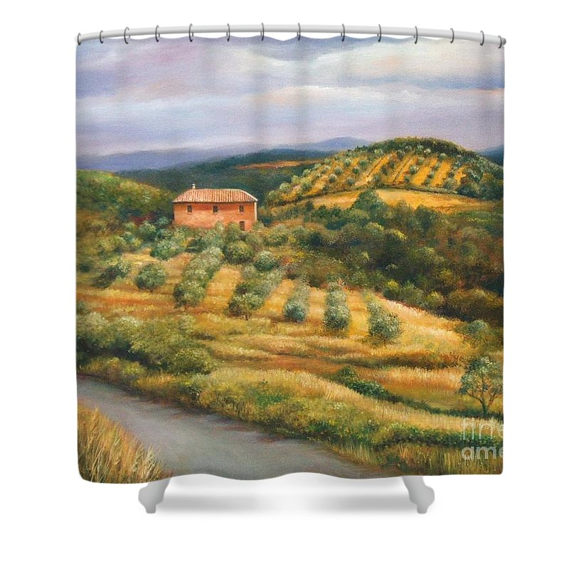 Landscape Shower Curtain featuring the painting Tuscan Summer by Ann Cockerill