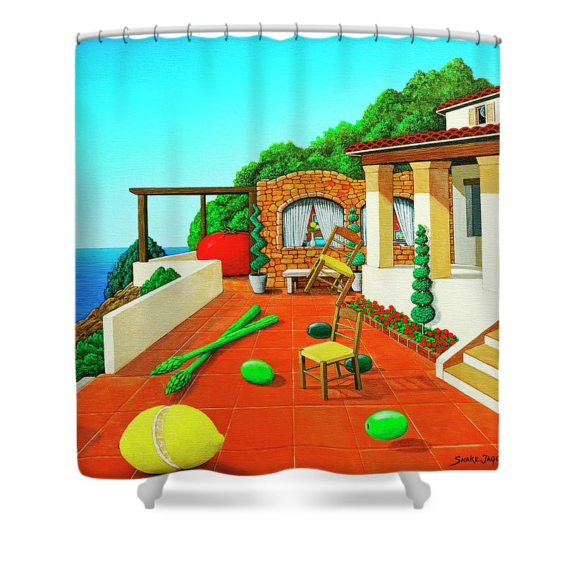 Tuscan Shower Curtain featuring the painting Tuscan Vacation by Snake Jagger