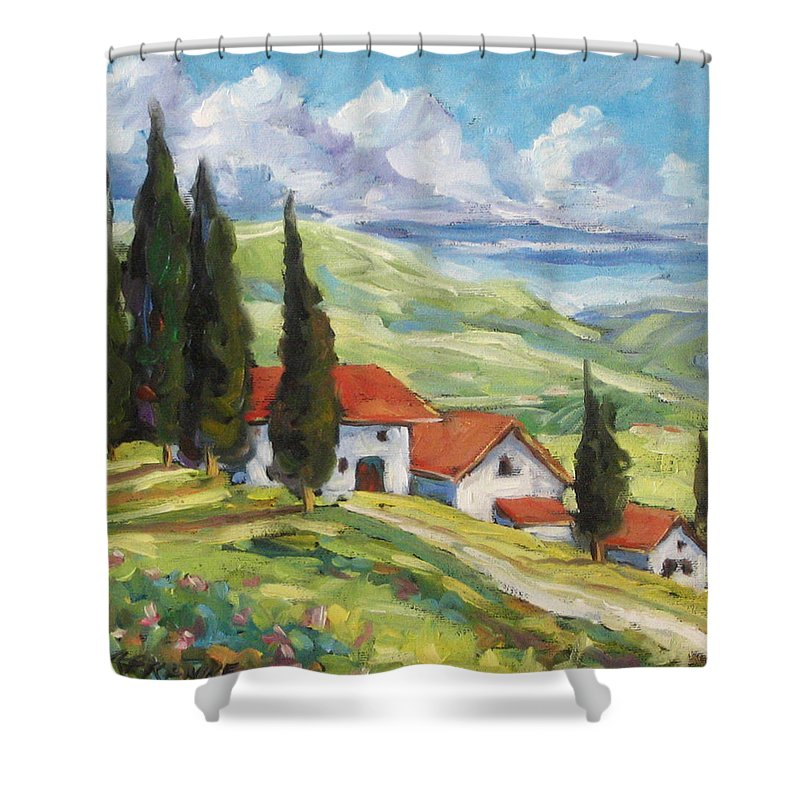 Tuscan Shower Curtain featuring the painting Tuscan Villas by Richard T Pranke