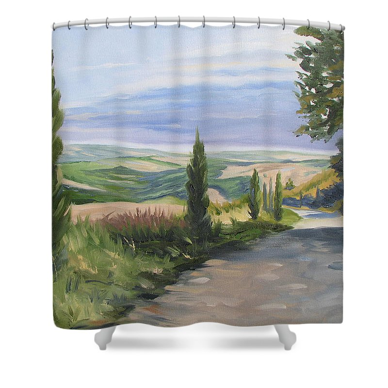 Landscape Shower Curtain featuring the painting Tuscan Walk by Jay Johnson