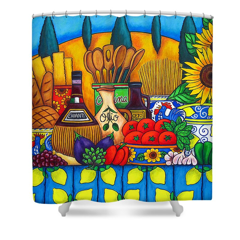 Still Life Shower Curtain featuring the painting Tuscany Delights by Lisa Lorenz